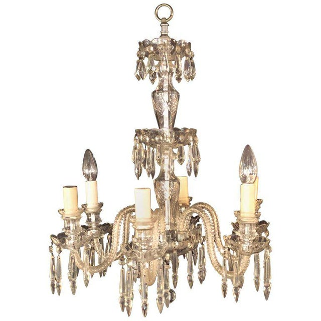A Venetian Six Light Cut Crystal Chandelier Circa 1920 For Sale - Image 13 of 13