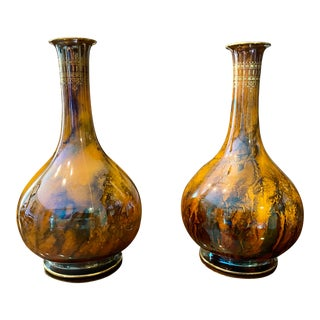 Early 20th Century Spectacular Flambé Glazed Art Deco Vases by Keeling and Co England - a Pair For Sale