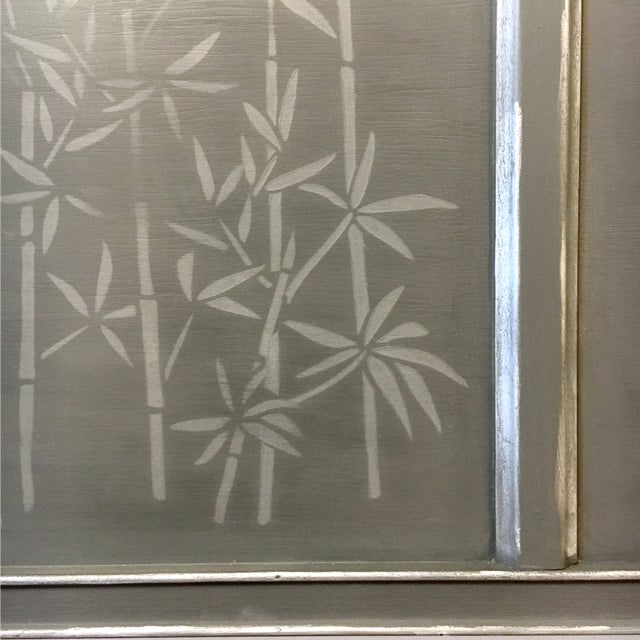 1960s Contemporary Gray Hand Painted Full Size Headboard For Sale - Image 4 of 7
