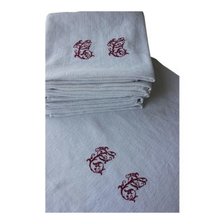 "1920s ""CC"" Monogrammed Linen Damask Linen Napkins - Set of 12 For Sale"