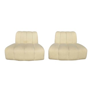 "W&j Sloane Upholstered ""Cloud"" Channel Back Wide Frame Slipper Club Chairs- A Pair For Sale"