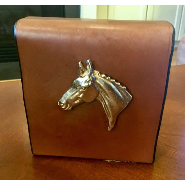 English Equestrian Saddle Leather Bookends - a Pair For Sale - Image 11 of 12
