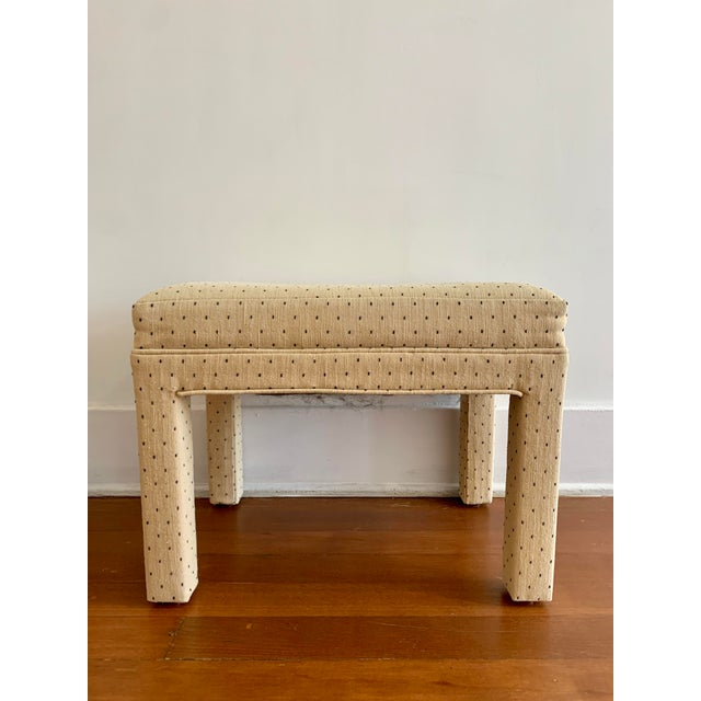 Contemporary Parsons Style Polka Dot Upholstered Bench - One Available For Sale - Image 3 of 10