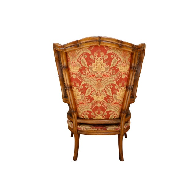 Faux Bamboo Caned Wingback Chairs, a Pair For Sale - Image 4 of 8