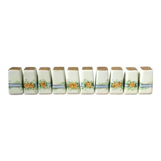 Vintage Mid-Century Floral Column Salt & Pepper Shakers - Set of 10 For Sale