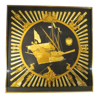 Vintage Framed Hermes Scarf By Philippe Ledoux and Vladimir Rybaltchenko For Sale