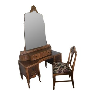 Antique Vanity With Mirror and Matching Chair - Set of 3