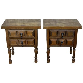 20th Century Pair of Spanish Nightstands With Two Drawers and Iron Hardware For Sale