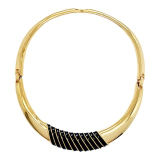 60s Choker With Black Enamel Stripes by Kenneth Jay Lane For Sale