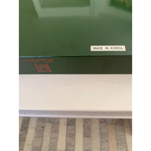 """Forest Green Roe Kasian, """"British Racing Car Green"""" Lacquer Tray - 1970's For Sale - Image 8 of 11"""