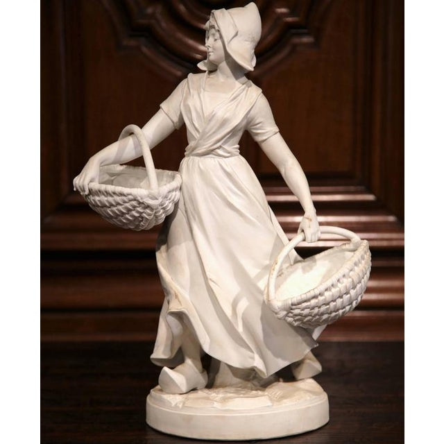 19th Century French Woman Holding Wicker Baskets Biscuit Porcelain Sculpture For Sale In Dallas - Image 6 of 9