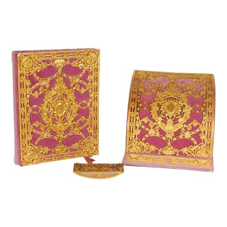 American Gilt Bronze Ormolu-Mounted Pink Velvet Desk Set E. F. Caldwell & Co. - Set of 3 For Sale