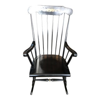 Vintage Black Wood Rocking Chair For Sale