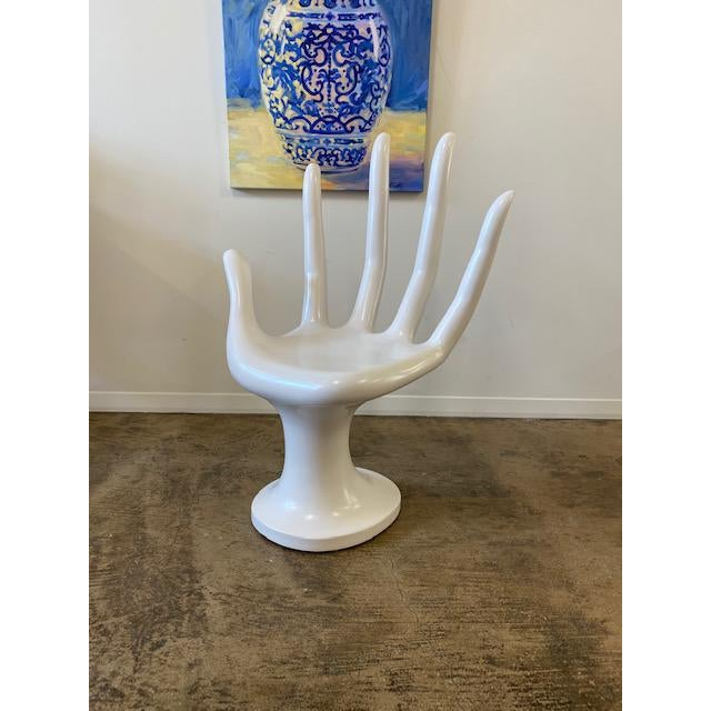 White 1960s Fiberglass White Hand Chair For Sale - Image 8 of 8
