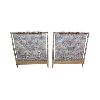 Hollywood Regency Faux Bamboo Painted Pair of Twin Headboards W/ Tufted Toile For Sale