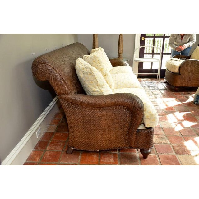 Hickory Chair Company Rattan Three Seat Sofa Couch - Image 4 of 8