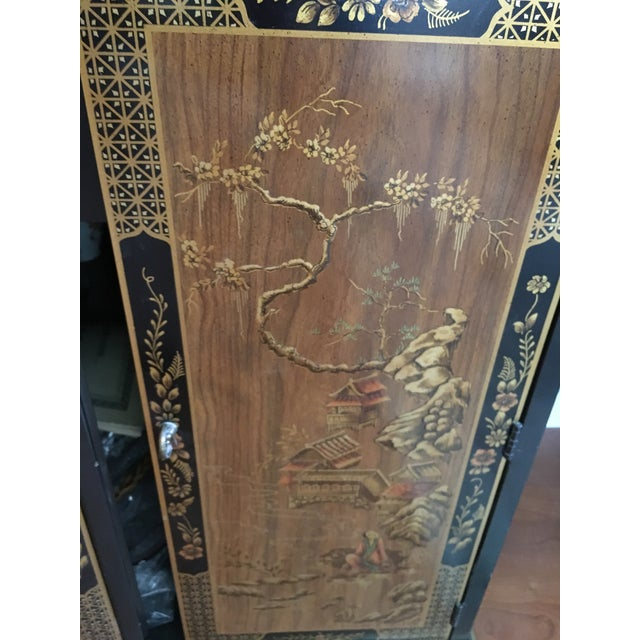 Asian Drexel Heritage Chinoiserie Black Lacquer Buffet Server For Sale - Image 3 of 5