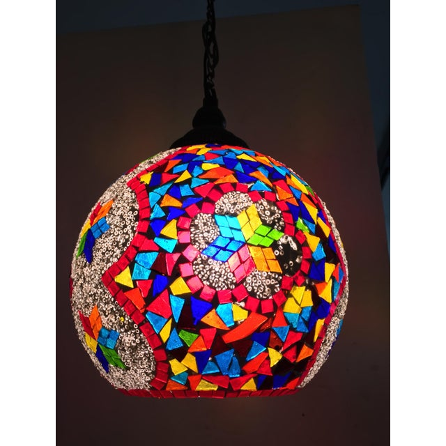 Art Glass Turkish Mosaic Ceiling Round Lamp For Sale - Image 7 of 10