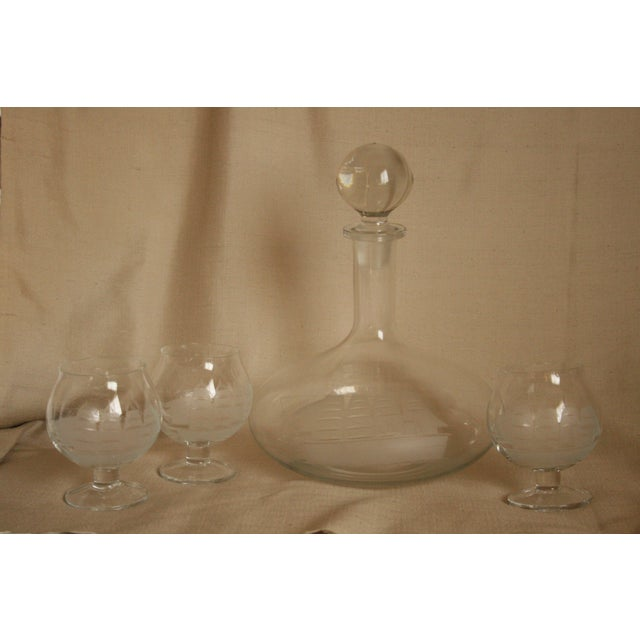 Vintage Etched Toscany Crystal Clipper Ship Decanter & Snifters For Sale - Image 10 of 10