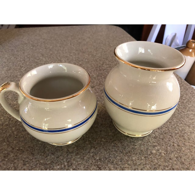 Blue Antique Ironstone and Semi Porcelain Smith Phillips East Liverpool Ohio Empress Line Chamber Bathing Set of 10 For Sale - Image 8 of 9