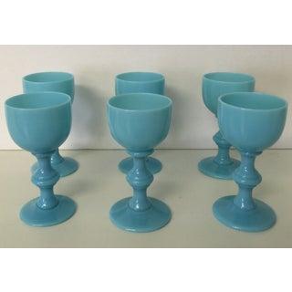 Aqua Antique Opaline Cordial Glasses - Set of 6 Preview