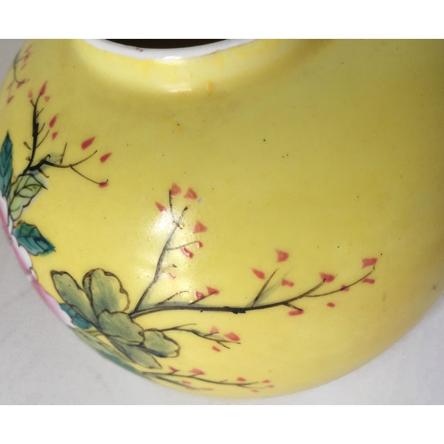 1960s Japanese Porcelain Ware Yellow With Pink Flowering Branch and Bird Vase For Sale - Image 5 of 12