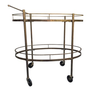 1970s Mid-Century Modern Oval Two Tier Brass Bar Cart For Sale