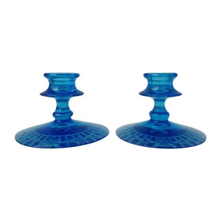 Blue Etched Glass Candleholders - A Pair