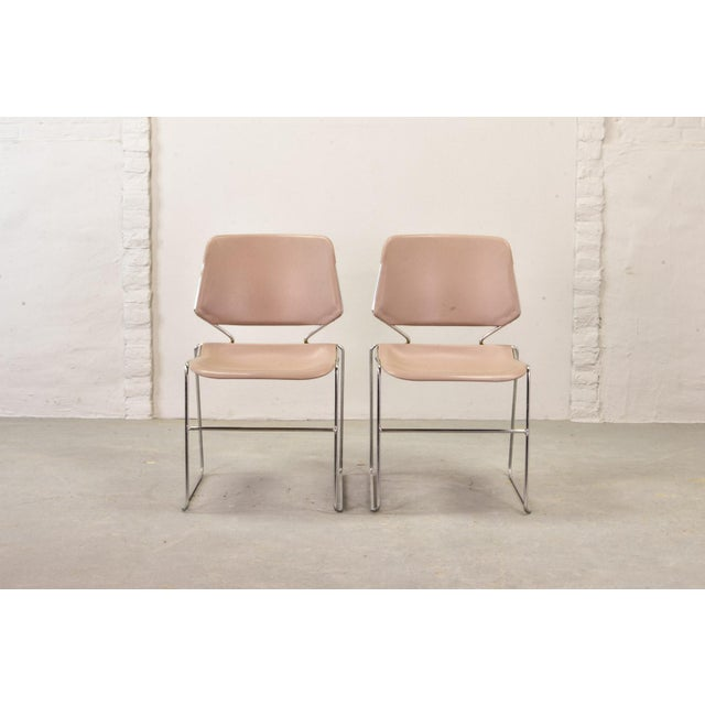 Set of Seven Mid-Century Muted Pink Stackable Dining Chairs by Thomas Tolleson for Matrix Krueger, Usa, 1970s For Sale - Image 12 of 13