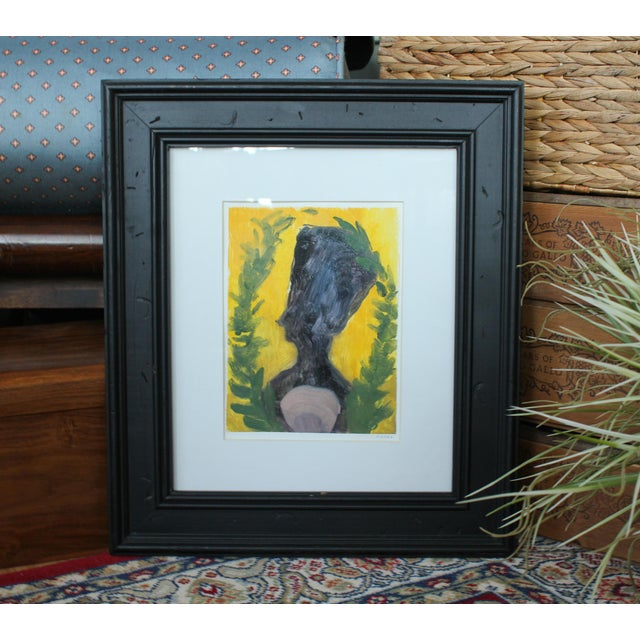 """This item is an original painting called """"Nefertiti with Shell and Ferns."""" The painting is on paper and is professionally..."""