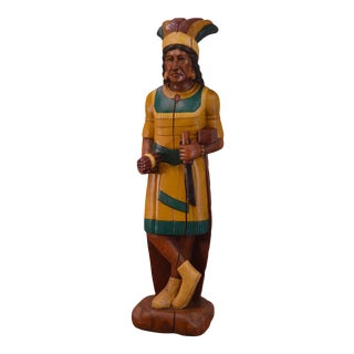 Hand Carved Wood Tobacco Store Indian Statue For Sale