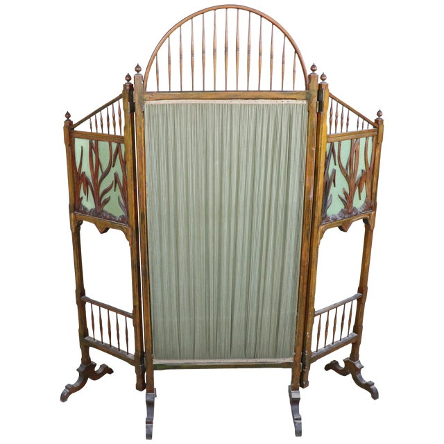 20th Century French Art Nouveau in Wood Colored Glass and Fabric Screen For Sale