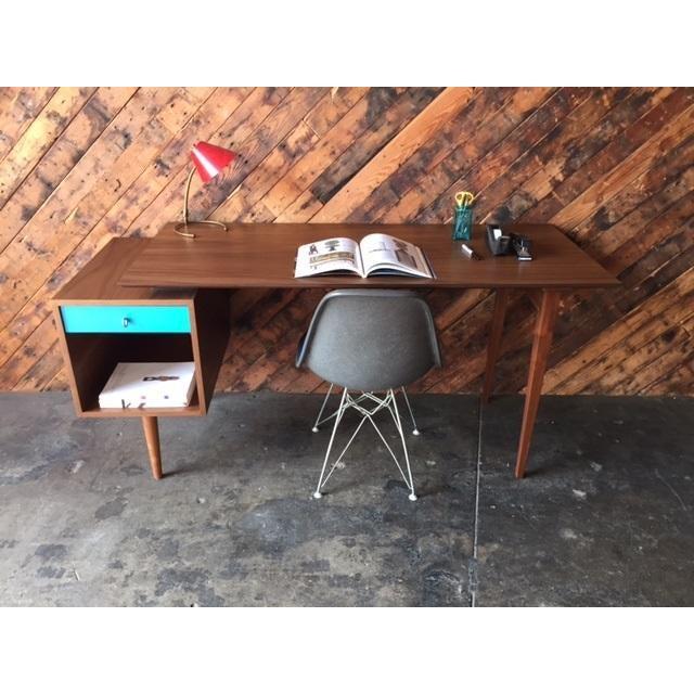 Mid-Century Style Walnut Desk - Image 5 of 8