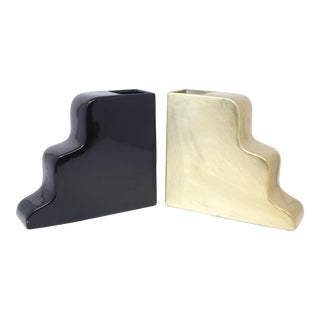 Curvy Ceramic Black and Gold Gloss Vases - a Pair For Sale