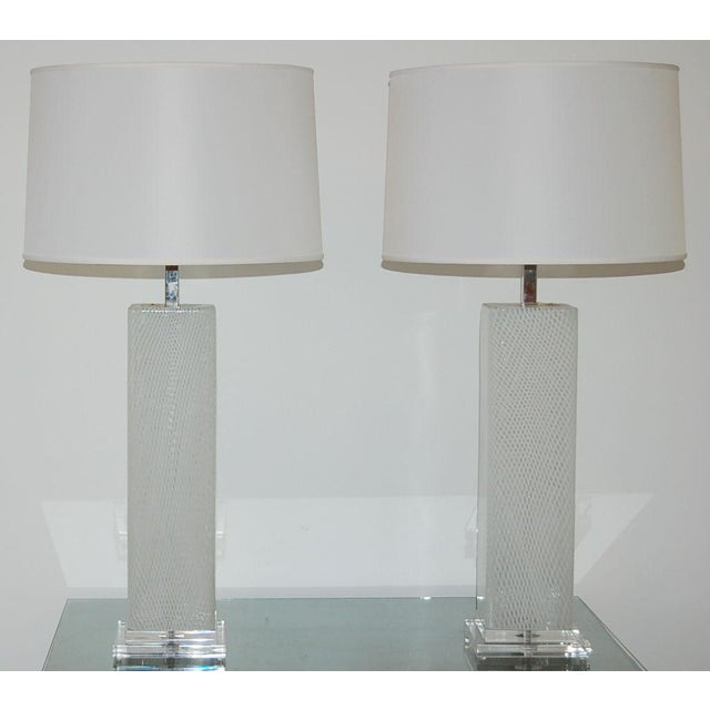 Hollywood Regency Dino Martens Vintage Murano Glass Table Lamps Square White For Sale - Image 3 of 10