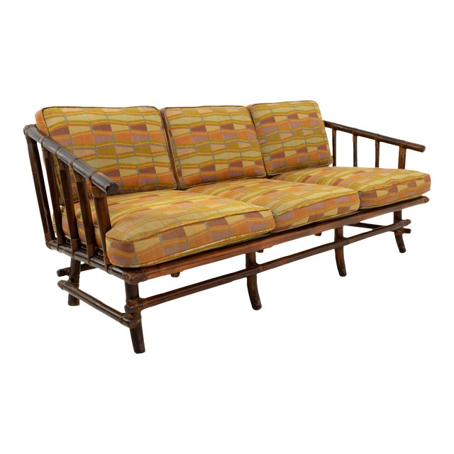 John Wisner for Ficks Reed Style Bamboo Mid Century 3-Seater Sofa For Sale