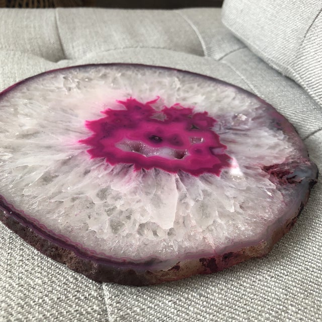 Boho Chic Organic Modern Large Pink Agate Slab For Sale - Image 3 of 4