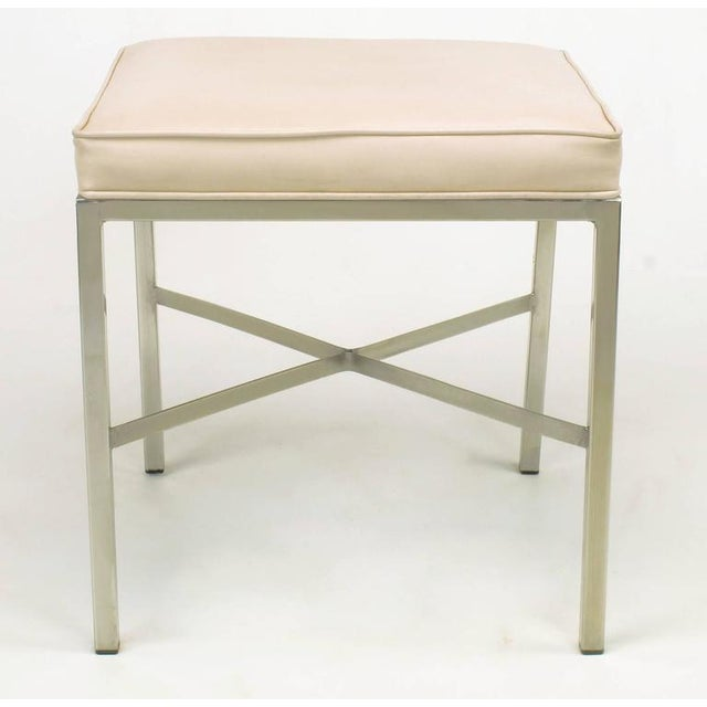 Pair of Polished Steel X-Stretcher Benches in Complementary Faux Leather - Image 9 of 10