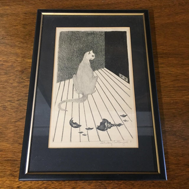 1950s Mid-Century Cat Lithograph For Sale - Image 5 of 5
