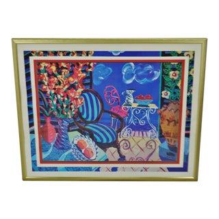 Vintage Framed Amanda Watt Whimsical Patio Scene Print For Sale