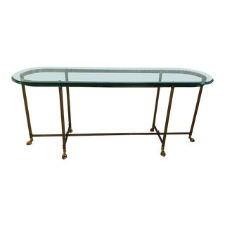 Brass La Barge Console Table Glass Top With Hoof Feet For Sale