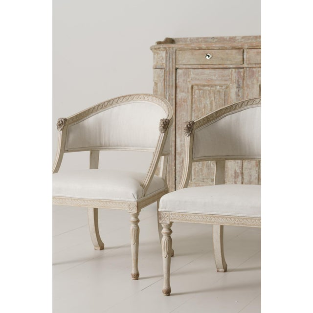 Swedish Gustavian Barrel Back Armchairs With Lions' Heads - a Pair For Sale - Image 4 of 11