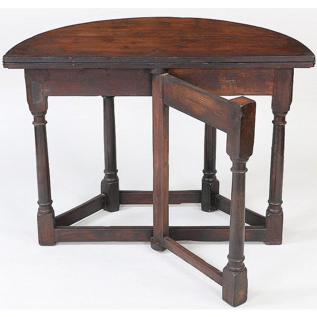 Traditional 19th Century Vintage English Fliptop Demi Lune Table For Sale - Image 3 of 6