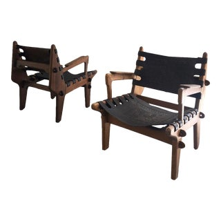 Mid Century Angel Pazmino Ecuadorian Modern Lounge Chairs- A Pair For Sale