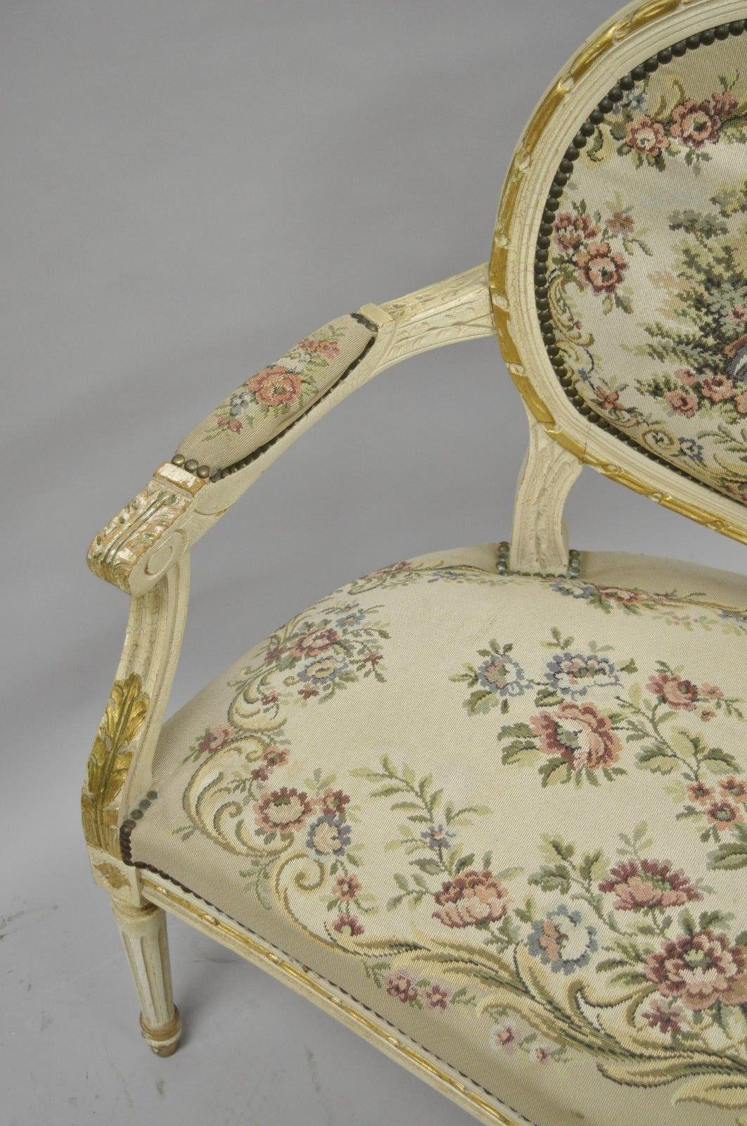 Fabric Vintage French Louis XVI Style Distress Painted Cream U0026 Gold Gilt  Wood Settee Sofa For