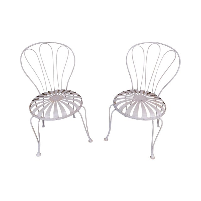 Vintage Pair Painted Pinwheel Iron Garden Chairs After Francois Carre For Sale - Image 13 of 13
