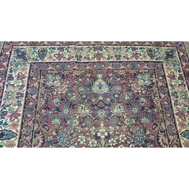 """Antique Kerman Handmade Wool Rug - 4'4"""" X 6'6"""" - Size Cat. 4x6 5x7 For Sale In Los Angeles - Image 6 of 8"""