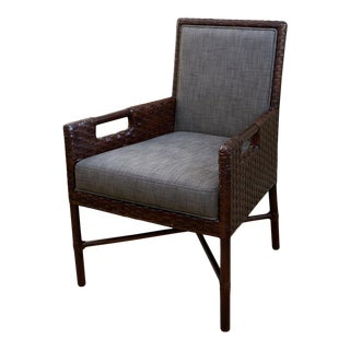 Thomas Pheasant for McGuire Woven Leather Arm Chair For Sale