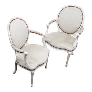 Adams Style Swedish Decorated Armchairs - A Pair