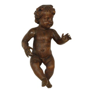 Mid 19th Century Wood Carved Cherub Model For Sale